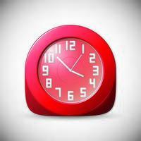 horloge rouge avec chiffres blancs sur fond gris vecteur