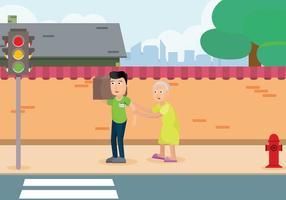 Caretaker gratuit avec femme sur la route illustration vecteur