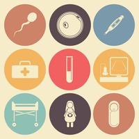 icône plate de grossesse définie dans des cercles de couleur