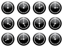 symbole de l'horloge mis blanc sur noir isolé vecteur