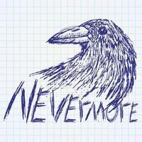 corbeau corbeau texte de croquis dessiné à la main jamais vecteur