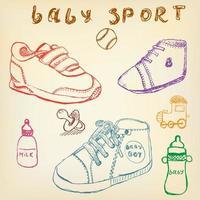 chaussures de bébé ensemble croquis couleur dessinée à la main vecteur