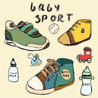 chaussures de bébé ensemble croquis dessinés à la main en couleur vecteur