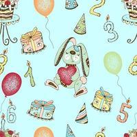 modèle sans couture avec un joli lapin d'anniversaire et des cadeaux