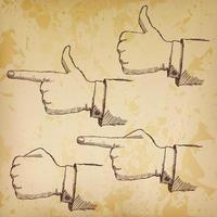 ensemble de mains croquis dessinés à la main isolé sur vieux papier