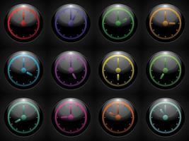 symbole de l'horloge définie la couleur sur fond noir vecteur
