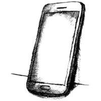 croquis dessiné main de téléphone portable avec ombre vecteur