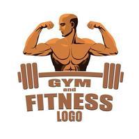 bodybuilder de maquette de logo de gym fitness