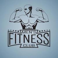 Bodybuilder de maquette de logo de salle de fitness montrant les biceps décrits