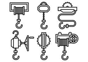 Icônes vectorielles de treuil vecteur