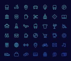 icônes de ligne définies pour les cartes, les applications de navigation vecteur