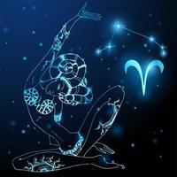signe du zodiaque bélier à l'image d'une belle fille mystique. vecteur
