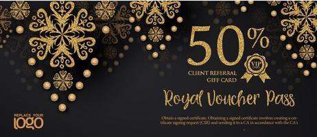 bannière de coupon de réduction de bon cadeau or et noir vecteur