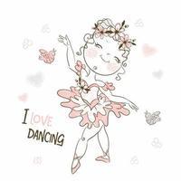 une jolie petite ballerine dans un tutu rose dansant vecteur