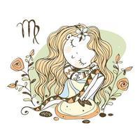 zodiaque des enfants. signe de la Vierge. jolie fille vecteur