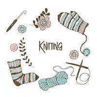 un ensemble d'éléments sur le thème du tricot.