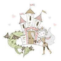 un château de conte de fées avec un prince vecteur