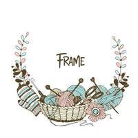 un cadre guirlande sur le thème du tricot
