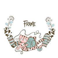 couronne de cadre sur le thème du tricot