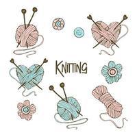 un ensemble d'éléments pour le tricot.