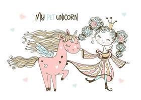 jolie princesse avec sa fabuleuse licorne rose.