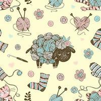 modèle sans couture sur le thème du tricot