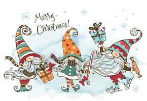carte de Noël avec une famille de gnomes nordiques vecteur