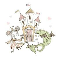 jolie petite princesse et dragon de conte de fées. vecteur