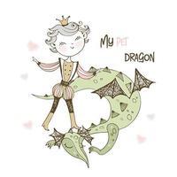 un prince féerique et un dragon. vecteur