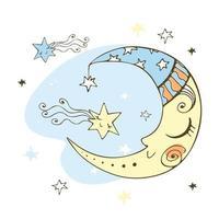 lune mignonne dans un style doodle pour le thème des enfants. vecteur