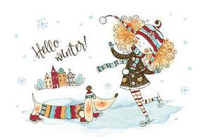 une jolie fille dans un chapeau tricoté patinage