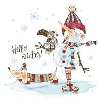 Bonhomme de neige drôle dans un bonnet et une écharpe tricotés vecteur