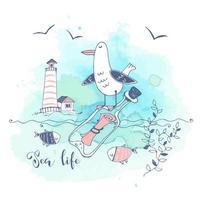 carte postale sur le thème de la mer avec une mouette mignonne vecteur