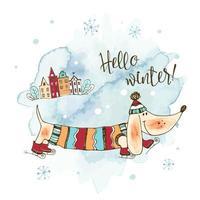 patins de teckel chien heureux en hiver