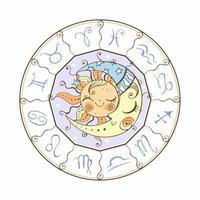 le soleil et le symbole astrologique de la lune. vecteur