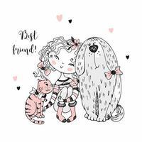 jolie fille avec un chat et un chien. vecteur