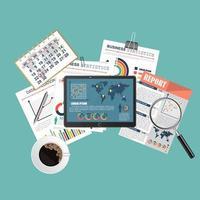 concept d'audit avec tablette vecteur