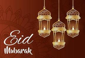 bannière de célébration eid mubarak avec lampes suspendues