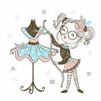 une jolie petite couturière montre la robe vecteur