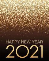 affiche célébrant l'année 2021 avec des paillettes d'or