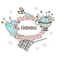 cadre à volants en style doodle avec accessoires de couture.