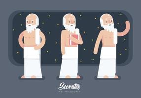 Socrates caractère Cartoon plat Vector Illustration