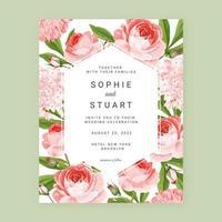 roses anglaises florales enregistrer le fond de carte de date vecteur