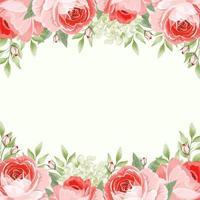 modèle de carte avec des bordures florales de roses anglaises vecteur