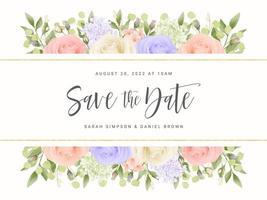 bannière de roses pastel enregistrer la carte de date vecteur