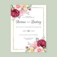 carte d'invitation de mariage de fond de fleurs vecteur