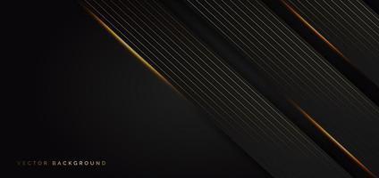 formes de chevauchement noires diagonales avec des lignes d'effet de lumière dorée vecteur