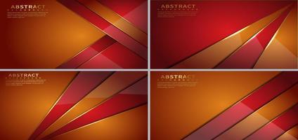 ensemble de formes géométriques superposées diagonales orange et rouge vecteur