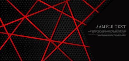 Texture de grille en métal noir avec des lignes rouges qui se croisent vecteur
