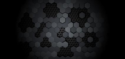 motif hexagonal géométrique abstrait sur fond noir en métal. vecteur